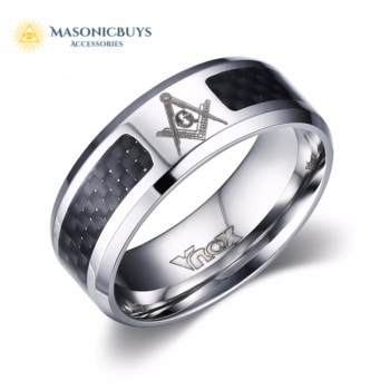 Stainless Steel & Carbon Fiber Masonic Ring