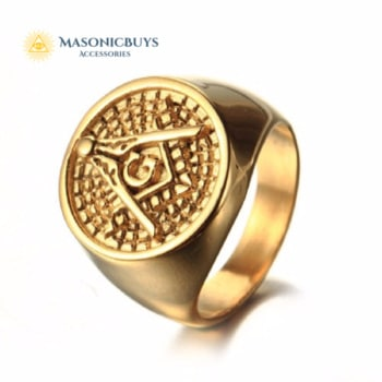 Golden Masonic Ring With Freemasonry Symbol