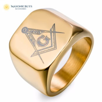 Trendy Masonic Ring With Freemasonry Symbol