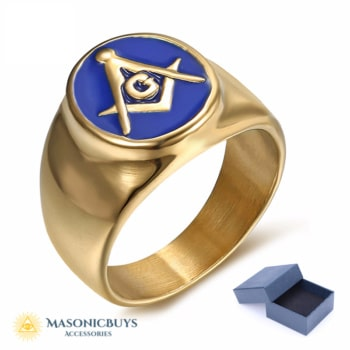 Golden Vintage Blue Lodge Masonic Ring With Blue Enamel