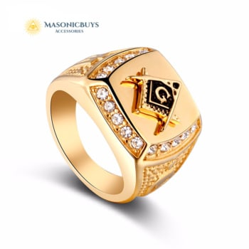 Vintage Masonic Golden Ring With Crystal