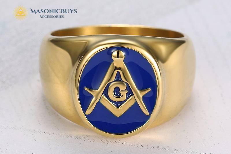 Golden Vintage Blue Lodge Masonic Ring With Blue Enamel