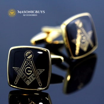 "Masonic Cufflinks With Freemason ""G"" Symbol"