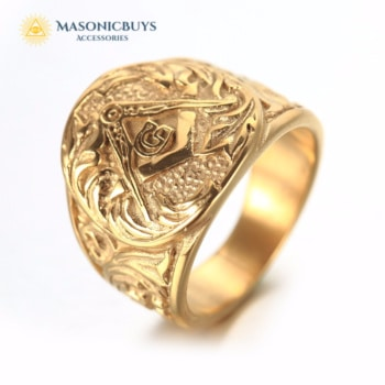 Masonic Embossed Stamped Ring With Freemason Symbol