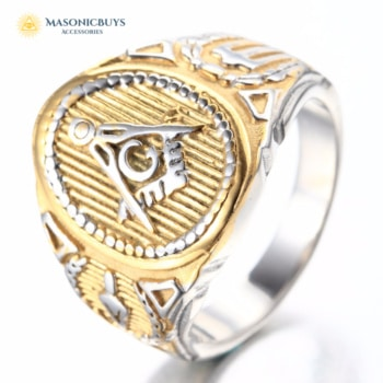 Masonic Ring With Golden-Silver Decorating