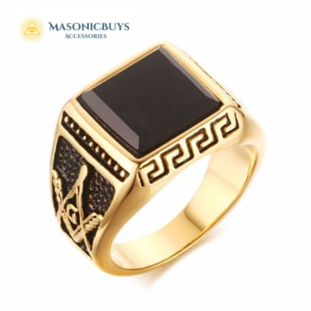 Golden Fashion Masonic Ring For Freemasons With Black Stone