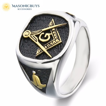 Masonic Ring With Compass & Square, Stainless Steel