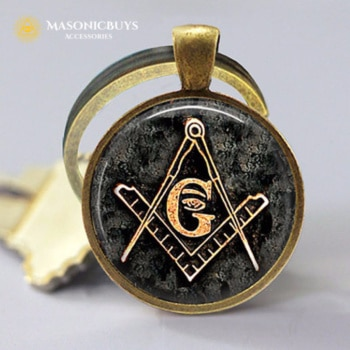 Masonic Keychain With Square & Compass Symbol