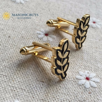 Masonic Cufflinks For Freemasons With Acacia Leaf Symbol