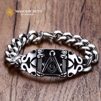 Stainless Steel Masonic Chain Bracelet