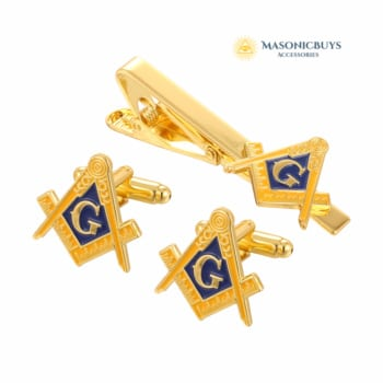 Masonic Set: Cufflinks, Pin & Tie Clip For Freemasons