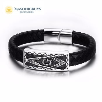Genuine Black Leather Bracelet With Stainless Steel Masonic Symbol