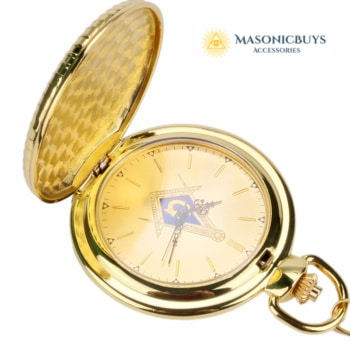 "Luxury Golden Masonic Quartz Pocket Watch With Big ""G"""