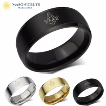 Simple Retro Masonic Ring. Gold / silver / black