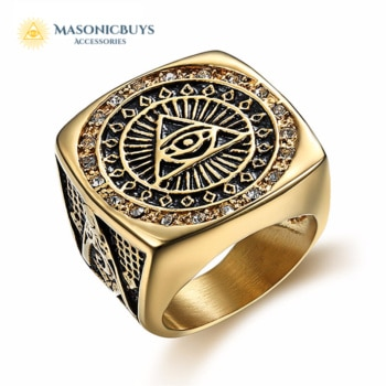 Large Golden Masonic Ring With Small Crystals