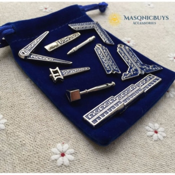 Classic Masonic Miniature Working Tool Set With Cloth Bag