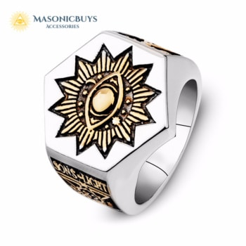 Masonic Eye of Providence Ring, Hexagon, 925 Silver