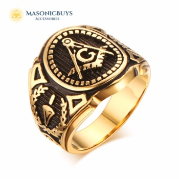 Golden Vintage Embossed Stamped Masonic Ring