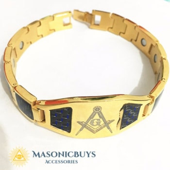 Masonic Magnetic Power Energy Bracelet With Carbon & Freemason Symbol