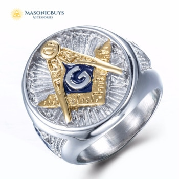 Silver Blue Lodge Masonic Ring With Golden Freemason Symbol