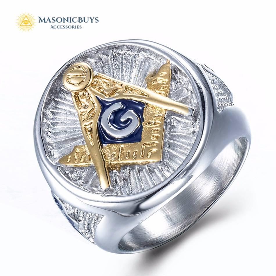 Silver Blue Lodge Masonic Ring With Golden Freemason Symbol