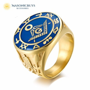 Buy Vintage Golden Blue Lodge Masonic Ring With High Quality online at affordale price with FREE shipping