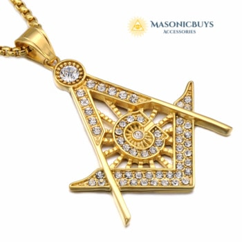 Gold / Silver Crystal Masonic Necklace