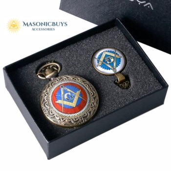 Classic Masonic Pocket Watch Set With Gift Box
