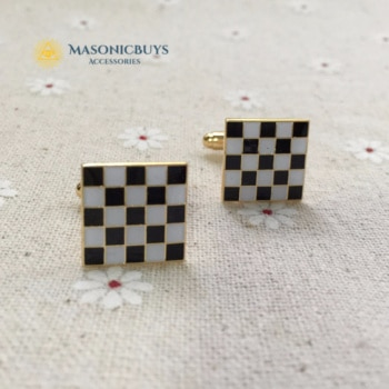 Masonic Cufflinks With Black & White Pattern