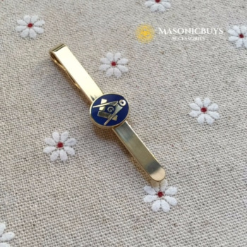 Masonic Tie Clip With Blue Freemason Symbol