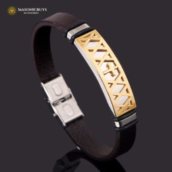 Buy Masonic Leather Bracelet online at affordale price with FREE shipping