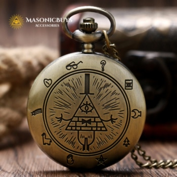 Vintage Masonic Quarz Pocket Watch With All-Seeing Eye Symbol