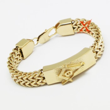 Masonic Bracelet For Men. Gold Plated / Silver Plated
