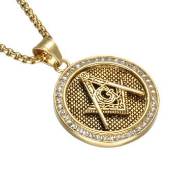 Gold Plated Round Shape Masonic Necklace
