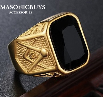 Buy Golden Fashion Masonic Ring For Freemasons With Black Stone online at affordale price with FREE shipping