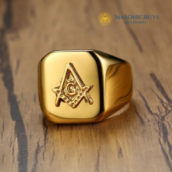 High Polished Golden Men's Masonic Ring With Compass & Square Symbol