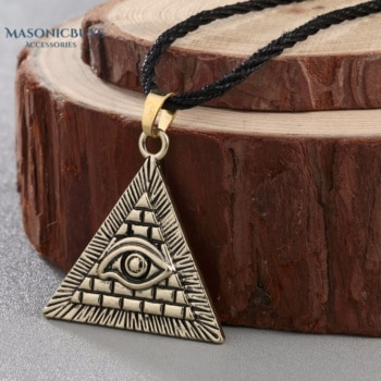 "Vintage Masonic Necklace ""Egyptian Pyramid"" With All-Seeing Evil Eye"