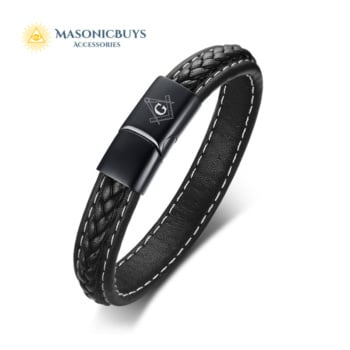 Black Genuine Leather Masonic Bracelet For Men