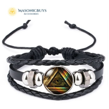 Masonic Leather Bracelet With Glass Freemason Symbol