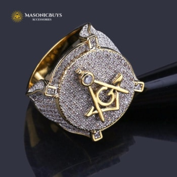 14K Gold Plated Masonic Ring With Cubic Zirconias