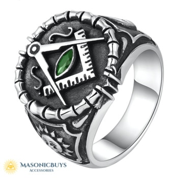 Vintage 925 Silver Masonic Ring With Green Cubic Zirconia. Hand Made