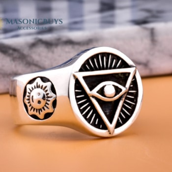 "925 Sterling Silver Handmade Masonic Ring With ""All Seeing Eye"" Symbol"