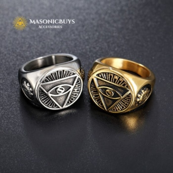 Vintage Masonic Ring With Triangle & Devil Eye