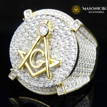 18K Yellow Gold Filled Masonic Ring With Highest Grade Lab Diamonds