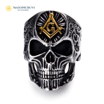 Stainless Steel Masonic Ring With The Skull