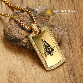 Masonic Pendant Necklace with Cubic Zirconia Diamonds