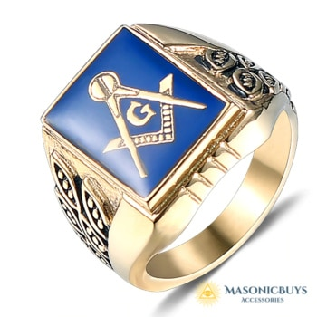 Blue Lodge Masonic Ring. Gold Plated Stainless Steel.