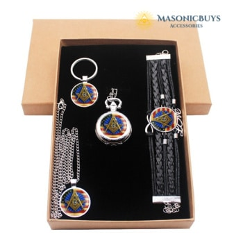 PERFECT MASONIC GIFT! Set of Pocket Watch, Pendant Necklace, Keychains & Bracelet + Gift Box