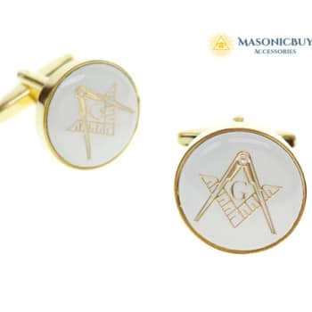 Gold Masonic Cufflinks, White