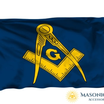 Masonic Flag With Blue Background And Golden Freemason Symbol